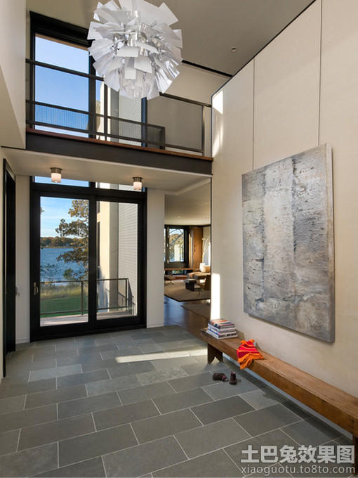别墅地板效果图图片 客厅地板装修效果图,灰色地板配家具效高清图片