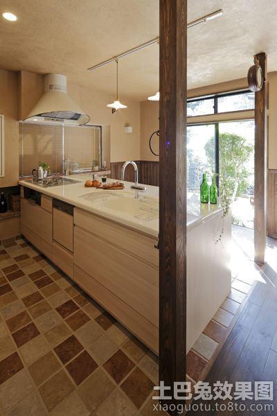美式乡村风格 厨房地板砖效果 图 图片 hao123
